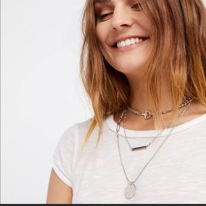 Free People Silver Emma Horsebit Layered Necklace